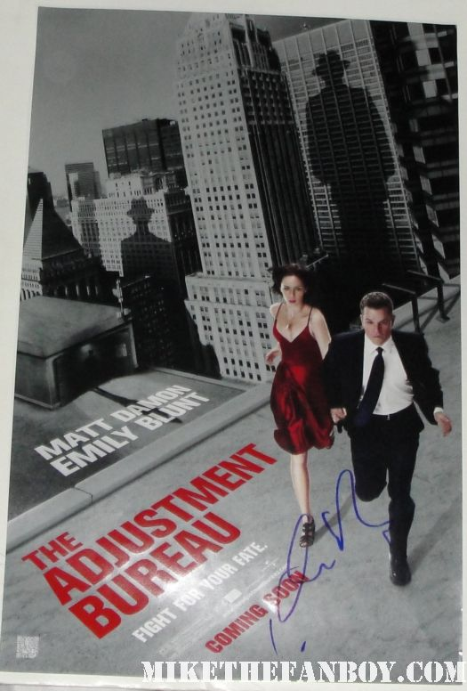 adjustment bureau mini movie poster rare hand signed emily blunt matt damon sexy hot rare promo