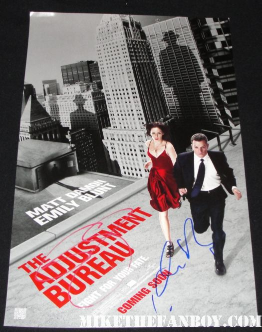 adjustment bureau red paint pen emily blunt matt damon hand signed autograph promo mini poster rare