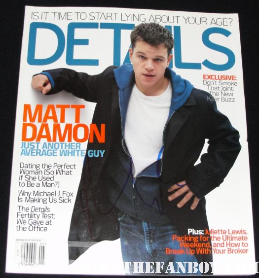 matt damon hand signed details magazine vintage sexy signed good will hunting rounders adjustment bureau sexy hot