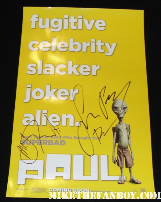 simon pegg nick frost paul mini poster Bill Hader signed autograph rare adventureland paul premiere saturday night live snl