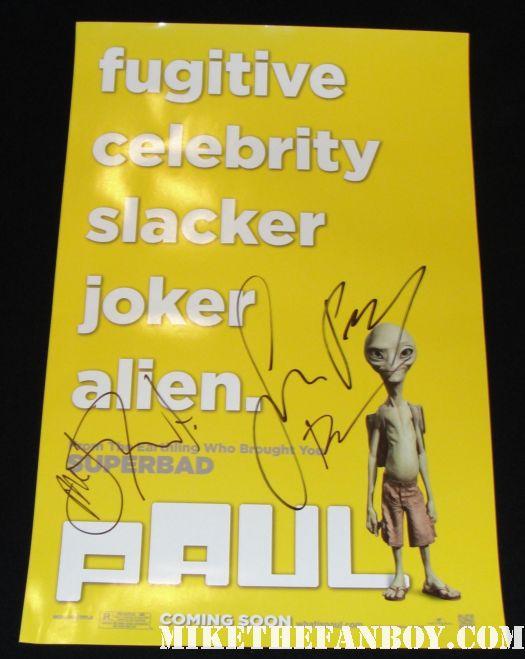 simon pegg nick frost paul mini poster Bill Hader signed autograph rare adventureland paul premiere saturday night live snl