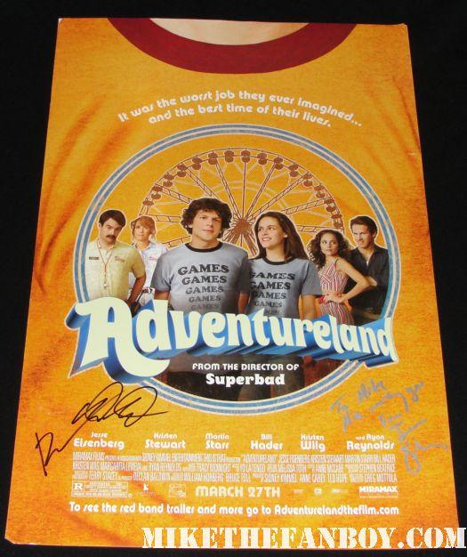 adventureland signed promo mini poster autograph bill hader jessie eisenberg martin starr kristen stewart kristin wiig ryan reynolds