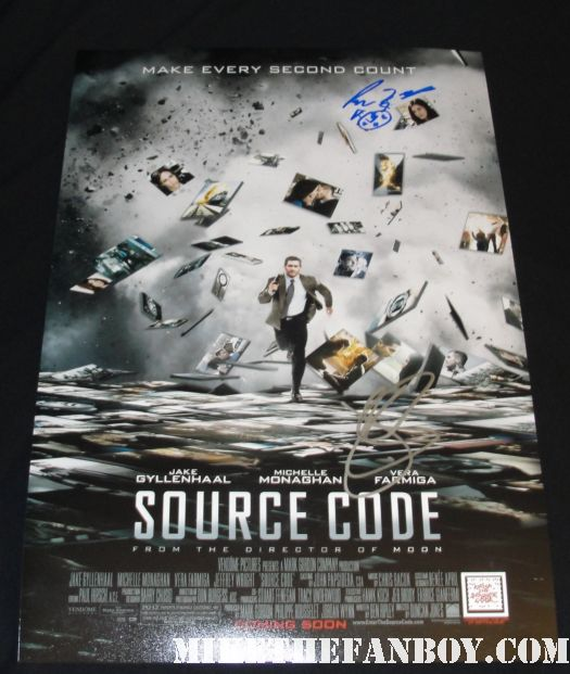 Jake Gyllenhaal and Michelle Monaghan signed autograph sexy hot rare source code mini promo poster damn fine duncan jones
