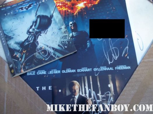 aaron eckhart dark knight rare signed autograph poster promo mini christian bale dvd blu ray hot sexy rare promo