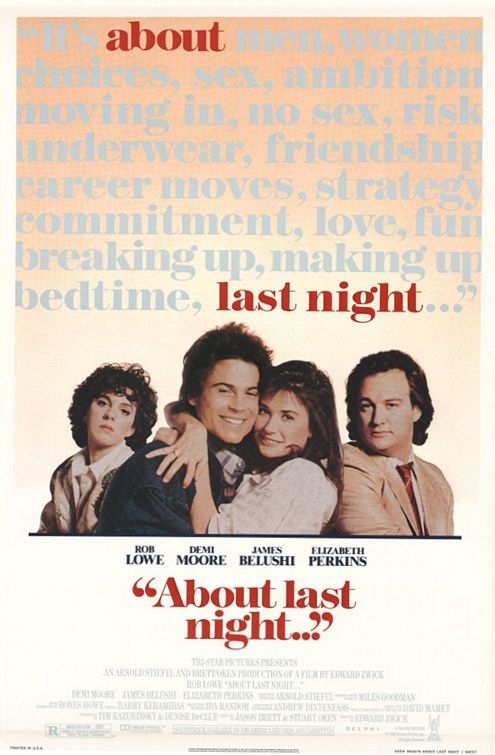 about last night... rob lowe demi moore sexy hot rare one sheet movie poster elizabeth perkins jim belushi rare promo 1980s hot sexy