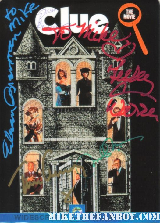 clue the movie rare hand signed promo tim curry michael mckean eileen brennan lesley ann warren ms. peacock mr. green ms scarlett wadsworth rare cult hand signed autograph