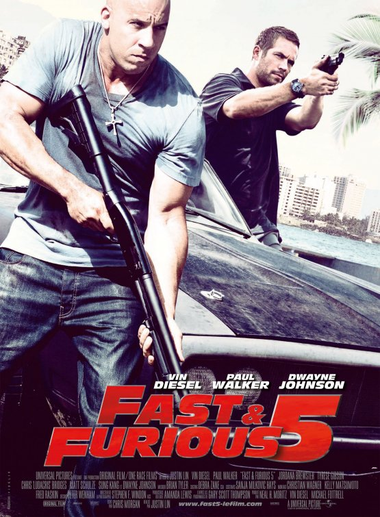 fast five fast and furious 5 five paul walker sexy hot rare vin diesel jordanna brewster the faculty one sheet poster movie driving sequel rare the rock