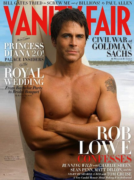 rob lowe shirtless sexy hot rare vanity fair may 2011 hot magazine cover rare photo shoot 1980s icon about last night the outsiders parks and recreation