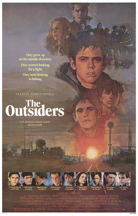the outsiders version 2 one sheet movie poster rare patrick swayze too wong foo rob lowe sexy hot matt dillon tom cruise emilio estevez ponyboy rare