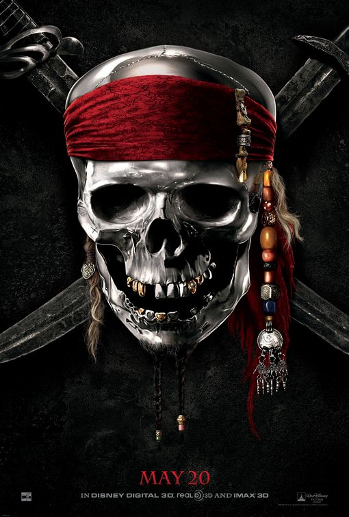 Johnny Depp as Captain Jack Sparrow in Pirates Of The Caribbean On Stranger Tides one sheet new movie poster skull orlando bloom geoffrey rush promo hot teaser one sheet movie poster penelope cruz