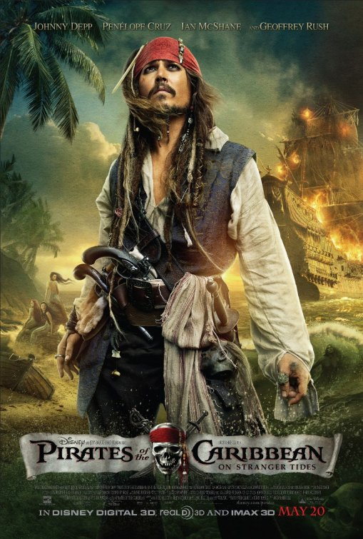 Johnny Depp as Captain Jack Sparrow in Pirates Of The Caribbean On Stranger Tides one sheet new movie poster rare version 3 one sheet movie poster rare hot penelope cruz orlando bloom geofrey rush