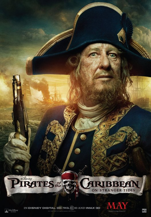 Pirates of the Caribbean: On Stranger Tides barbossa geoffrey rush rare promo pirates 4 pirates4 one sheet movie poster rare individual hot