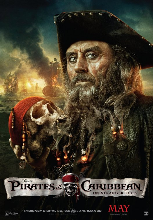 Pirates of the Caribbean: On Stranger Tides ian mcshane jack sparrow one sheet movie poster rare promo mini pirates 4 pirates4 hot rare skull disneyland premiere