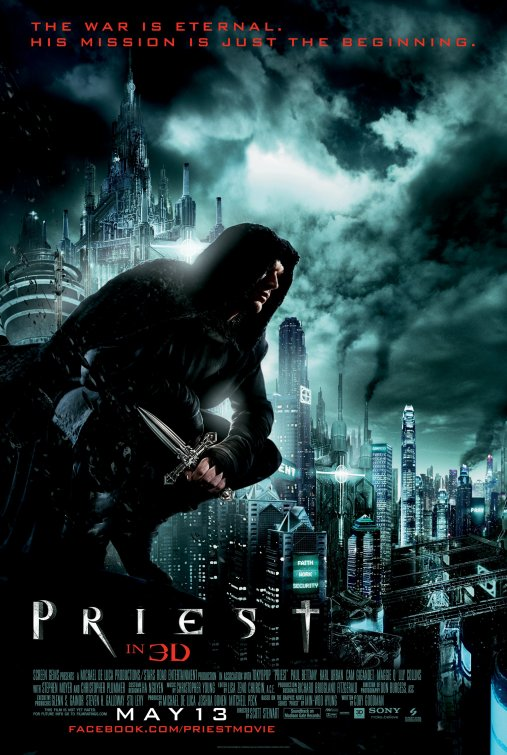 Priest rare one sheet movie poster promo paul bettany Cam Gigandet Karl urban Maggie Q Sexy hot rare underworld kate beckinsale