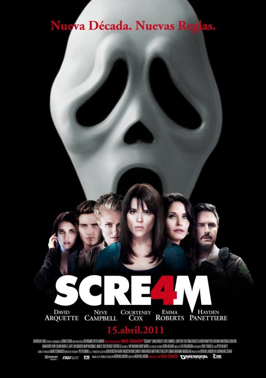 scream 4 rare promo courteney cox neve campbell emma roberts signed autograph poster rare hot cool spanish