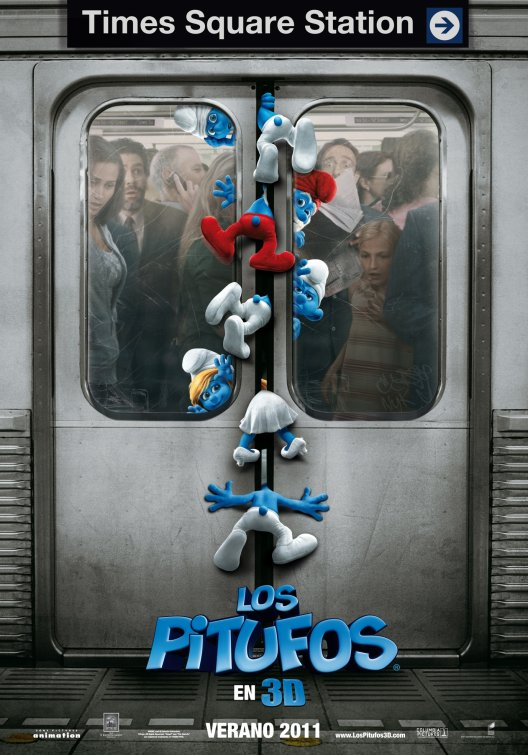 the smurfs one sheet promo poster pappa smurf smurfette katy perry promo clumsy handy rare hot one sheet gargamel new york rare promo spanish mexican