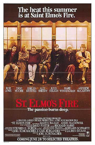 st elmos fire one sheet movie poster 1980s classic folded ally sheedy rob lowe judd nelson demi moore andrew mccarthy rare promo