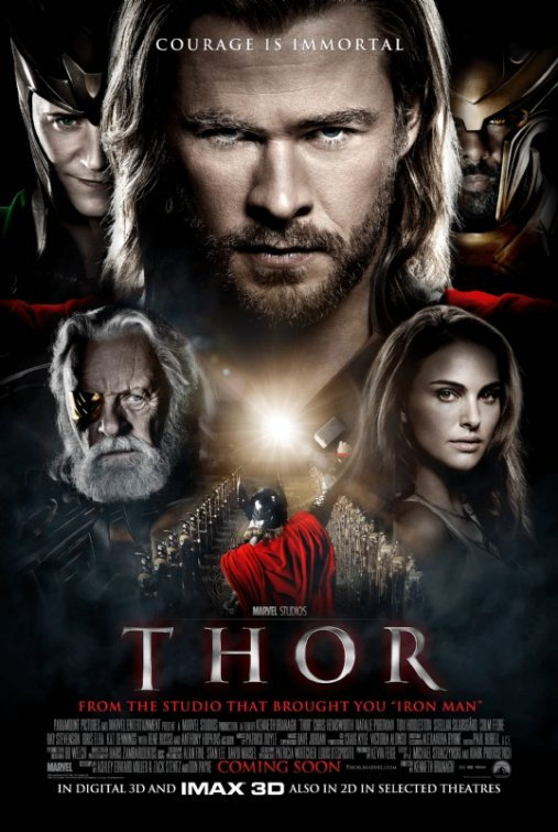 thor marvel one sheet movie poster chris hemsworth hot sexy rare natalie portman promo anthony hopkins kat dennings 40 year old virgin tom hiddleston nick nora playlist rare