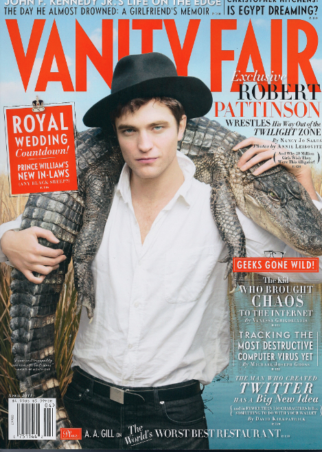 Rob Pattinson Robert vanity fair april 211 sexy hot magazine cover twilight sexy alligator rare