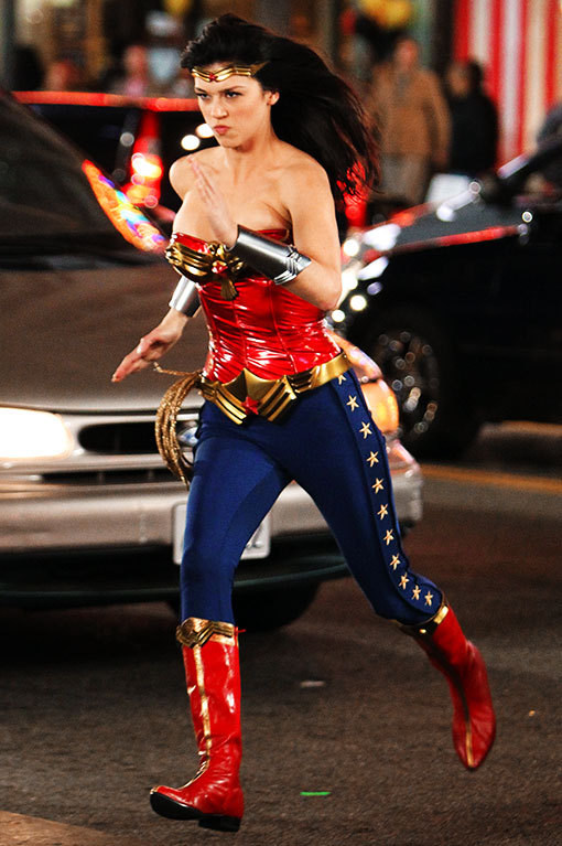 Adrianne Palicki wonder woman pilot new costume rare pleather boots red boots blue pants hot sexy rare