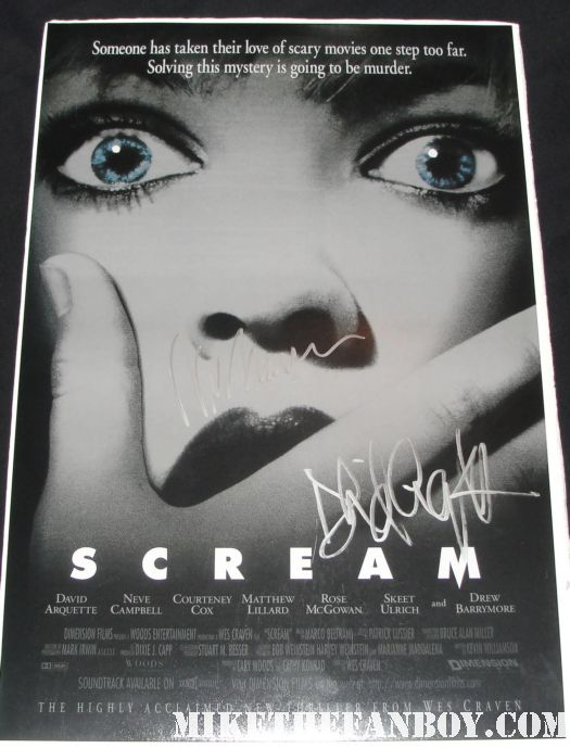 scream cast signed mini poster wes craven david arquette rare autograph scream 4 four rare neve campbell courteney cox rose mcgowan