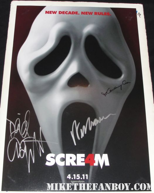 scream four 4 autograph wes craved signed mini poster courteney cox david arquette neve campbell rare hot promo rare ghostface