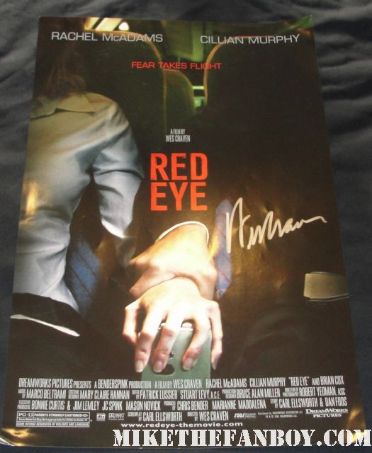 red eye signed mini poster wes craven autograph rare promo rachel mcadams cillian murphy signed hot promo scream 4