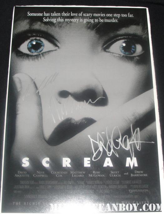 scream signed mini poster neve campbell courteney cox david arquette wes craven rare promo hot rare scream 4