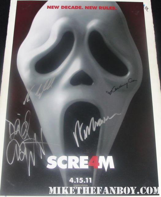 neve campbell signed autograph scream 4 mini poster david arquette courteney cox wes craven signed autograph rare