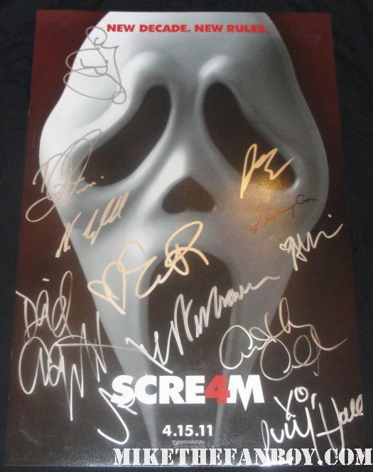 scream 4 hand signed autograph scream 4 promo mini poster courteney cox david arquette neve campbell hot sexy anna paquin rare alison brie emma roberts lucy hale