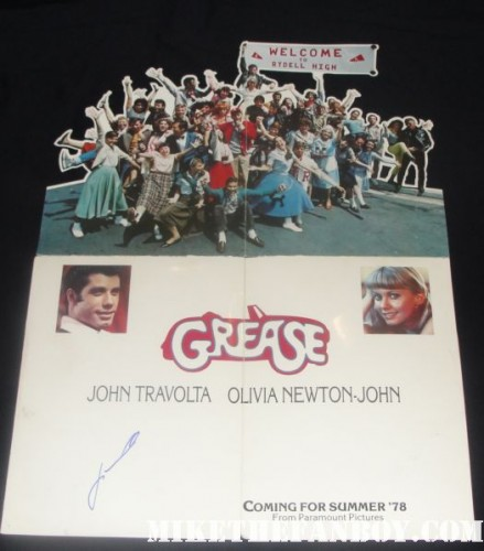 grease hand signed promo fold out poster 1978 pre release die cut john travolta we go together is the word