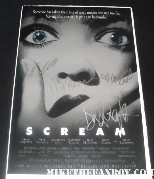 scream mini poster signed by david arquette neve campbell courteney cox wes craven hot promo rare
