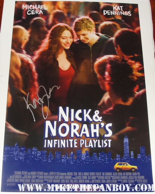 nick and nora's infinite playlist rare kat dennings signed autograph michael cera 40 year old virgin shorts thor hot promo mini poster rare