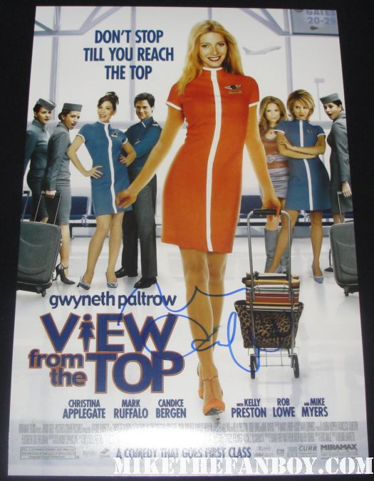 gwyneth paltrow mark ruffalo hand signed promo a view from the top mini poster autograph rob lowe mike myers hot sexy christina applegate