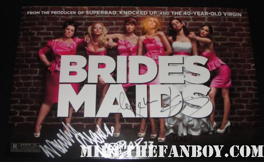 bridesmaids world premiere signed mini poster kristen wiig maya rudolph rare ellie kemper hot sexy funny judd apatow