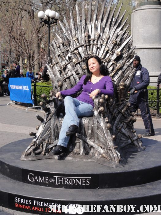 game of thrones prop costume display in new york city erica mike the fanboy promo HBO rare hot sexy rare sword throne