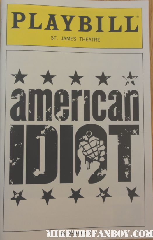 american idiot broadway playbill theatre billie joe armstrong green day justin guarini signed autograph promo dookie time of my life