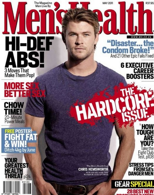 Thor Star Chris Hemsworth in Men's Health magazine inside pages hot sexy fine photoshoot photo shoot rare workout routine rare