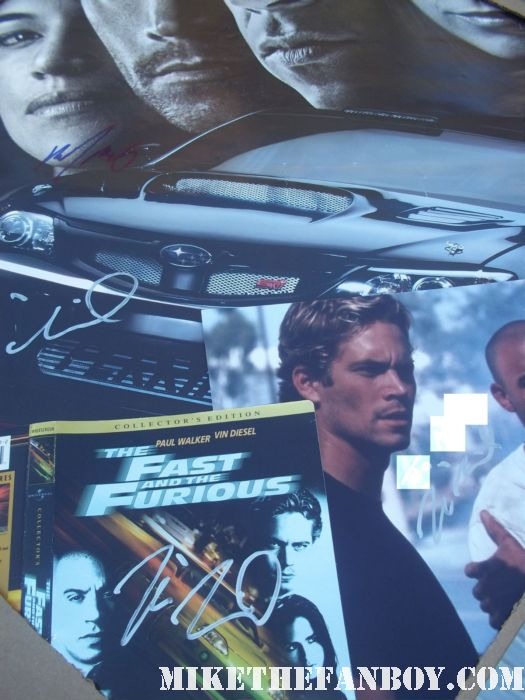 vin diesel hand signed rare autograph photo photograph fast five fast and furious five dvd cover poster mini michelle rodriguez paul walker rare