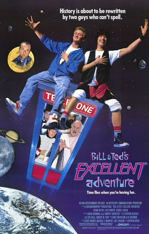bill and ted's excellent adventure promo one sheet movie poster teaser keanu reeves alex winter george carlin rare jane wiedlin go gos