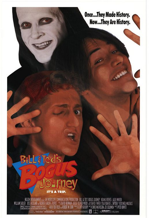 bill and ted's excellent adventure bogus journey rare promo one sheet movie poster keanu reeves alex winter rare full length teaser