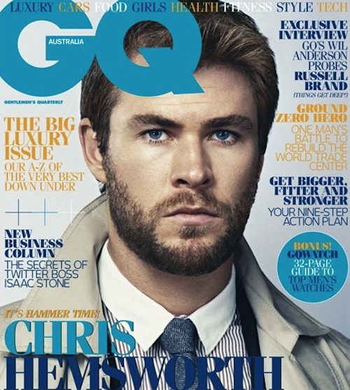 chris hemsworth thor gq australia may 2011 thor cabin in the woods muscle ripped sexy hot damn fine tie suit