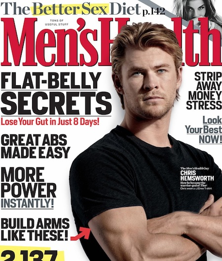 chris hemsworth sexy hot men's health magazine may 2011 rare Thor Workout routine abs hot bicep arms star trek star new promo