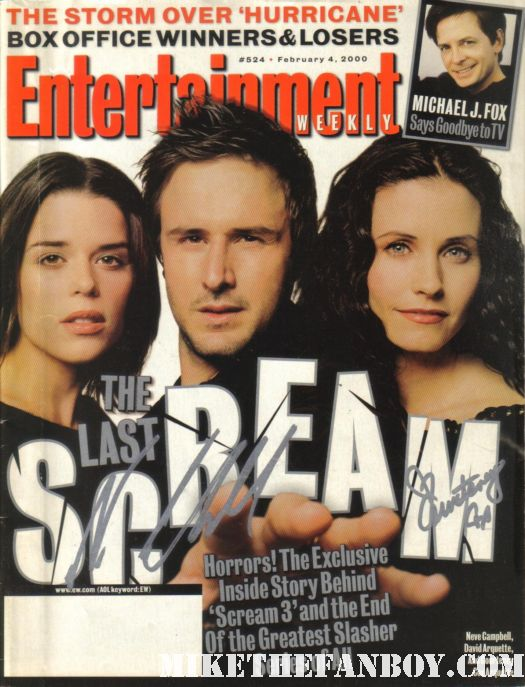 entertainment weekly magazine cover 2000 scream 3 signed autograph courteney cox neve campbell rare hot rare