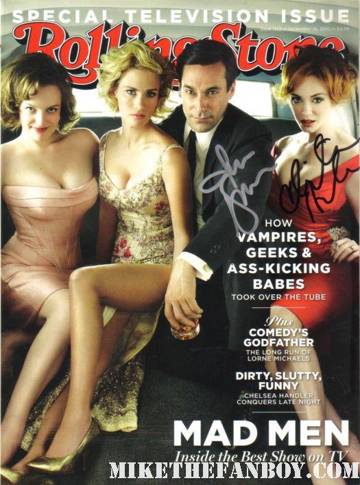 jon hamm christina hendricks signed autograph rolling stone magazine rare promo cover photo rare