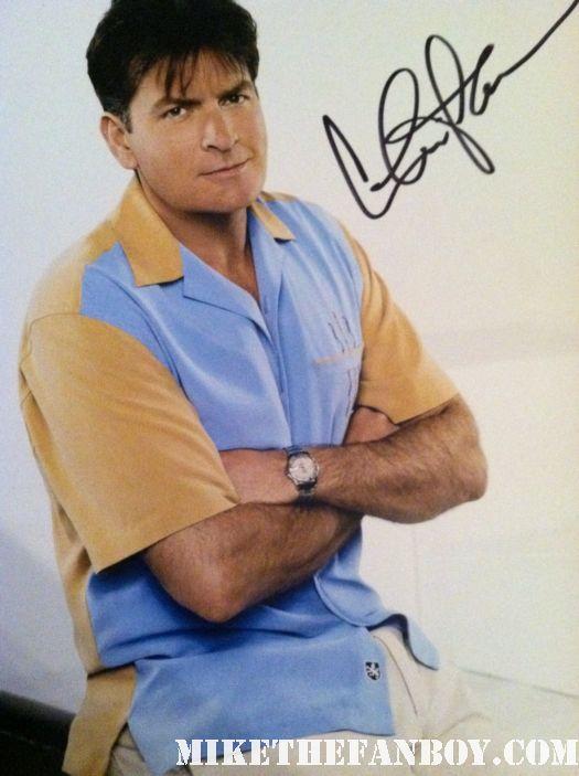 charlie sheen two and a half men signed autograph photo rare promo rare texas tour of truth promo hot rare ferris bueller