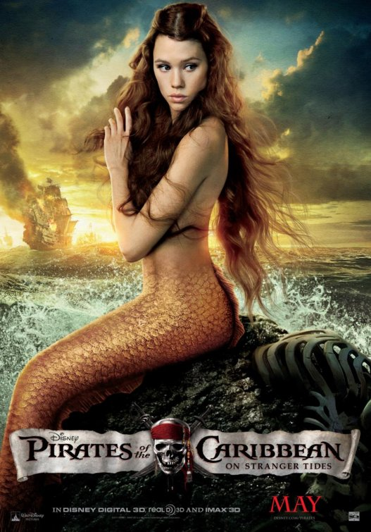 pirates of the caribbean on stranger tides Mermaid one sheet movie poster individual Astrid Berges-Frisbey hot sexy mermaid poster rare promo disney disneyland hot
