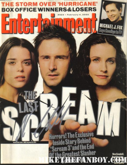 entertainment weekly magazine scream 3 2000 neve campbell hand signed autograph rare hot courteney cox