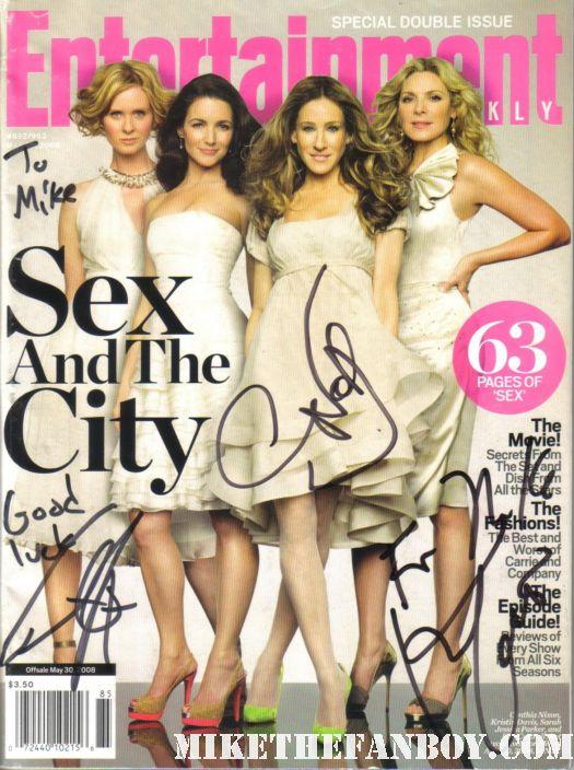 kim cattrall cynthia nixon chris noth signed autograph entertainment weekly magazine rare promo magazine hot