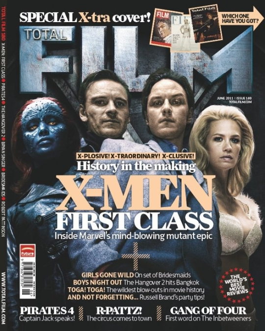 x men first class total film magazine cover january jones michael fassbender james Mcavoy mad men jennifer lawrence retro style magazine cover hot rare promo
